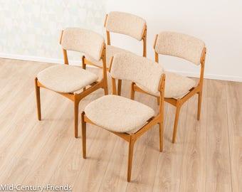 4 x chair, 60s, Denmark, Teak, O.D. Møbler (702019)