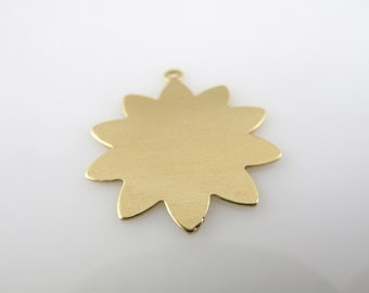 """Sale - BRASS 10-PETAL FLoWER w/RiNG, 1"""",  25mm,  Stamping Blank Personalized Jewelry Nature Tree Scrapbooking 24 Gauge Qty 6"""