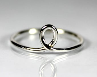 Thin Loop Ring, Sterling Silver, Gift Ideas, Stacking Stackable Ring, Minimal, Gift For Her