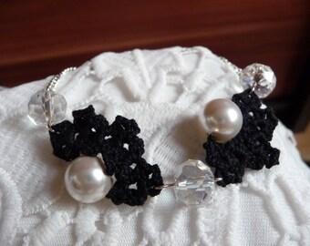 Crochet jewelry crochet anklet pearl anklet chain anklet crystal anklet black anklet bead anklet elegant anklet pearl jewelry modern jewelry