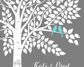 Teal Aqua Blue Wedding Guest Book Tree Personalized Wedding Print - 16x20-150 Signature Keepsake Guestbook Alternative