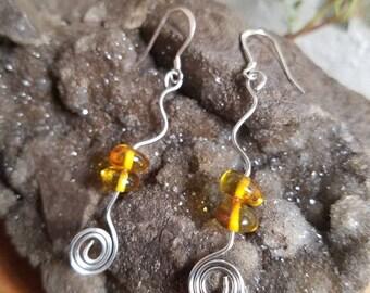 Baltic Amber Silver Serpent Earrings