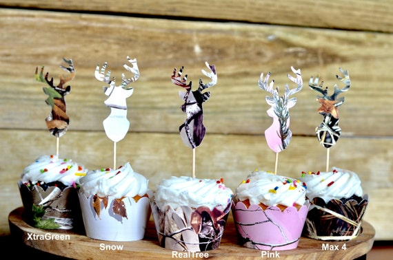 Realtree Camo Deer Silhouette Cupcake Toppers - XtraGreen, Realtree, Realtree Pink and Max 4 Camo