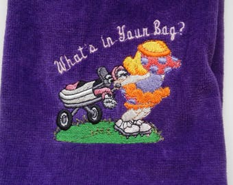 Embroidered  Purple Ladies Golf Towel, It's In The Bag Saying, Tri-fold Golf Towel