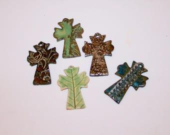 Cross Ornament, cross necklace, handmade pottery, ceramic ornament, Christian, Christmas ornament, Christmas gift/ceramics and pottery