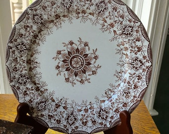 Antique Brown English Transferware Plate Daisy Pattern Wm . Grindley Tunstall England