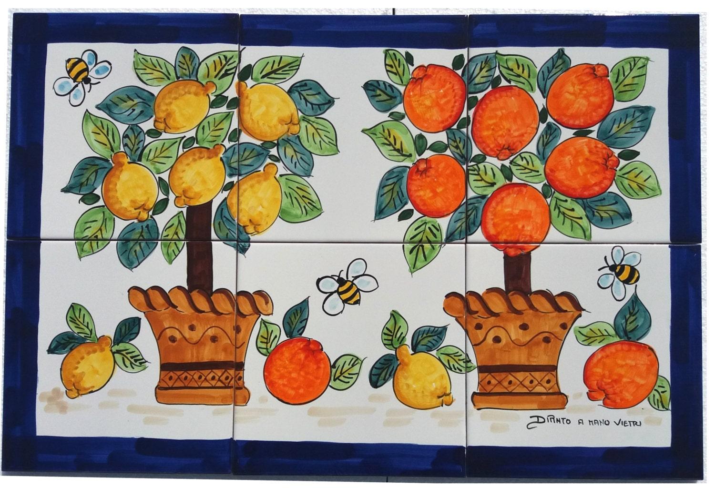 Pannello cucina ceramica di vietri mosaico mattonelle for Cucina mattonelle