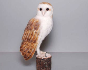 Barn Owl - Needle Felted Owl - Barn Owl Sculpture - Barn Owl Ornament - Owl Artwork - Owl Collectable Sculpture - Owl Gift - Ready to Ship