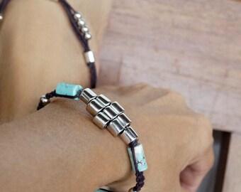 Turquouse Tribal Bracelet, Shamballa Bracelet, Beach Jewelry, Boho Friendship Band, Turquoise Stones