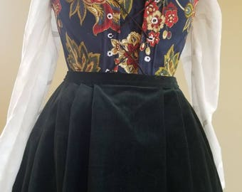 18th Century Stays WITH Stomacher, Blue with Flower Pattern, Size M L Historic Bodice Renaissance Fair Reenactment Scottish Highland Pioneer
