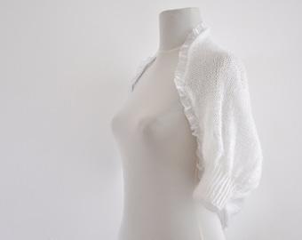 White Bridal Shrug Bolero Wedding Jacket Cardigan Mohair Chic Elegant