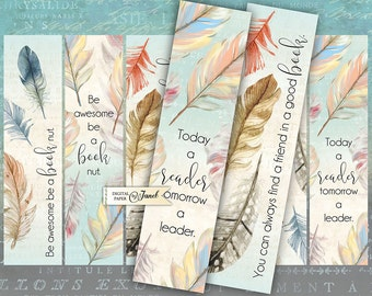 Quote Bookmarks - set of 6 bookmarks - digital collage - printable JPG file