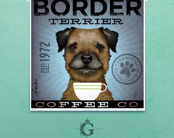 Border Terrier Coffee company artwork illustration giclee archival signed artists print  by stephen fowler