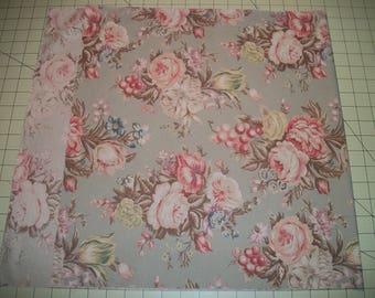 "Floral remnant, Cotton Fabric, light mint background, 37"" x 17"". Reclaimed fabric."
