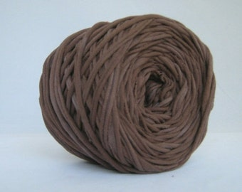 T Shirt Yarn, Hand Dyed, Dark Brown, 60 Yards, Brown T Shirt Yarn, Brown T-shirt Yarn, Brown Tshirt Yarn, Brown Yarn, Brown cotton yarn
