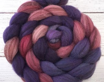Handpainted Heathered BFL Wool Roving - 4 oz. METEOR SHOWER - Spinning Fiber