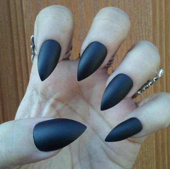 Matte Black Stiletto Nails, Gothic Goth Black Press on Glue on Nails ...