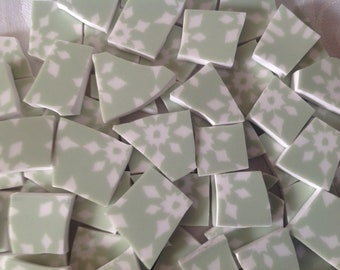 Broken China mosaic tiles~~Handcut Fine chinaTile~~GREEN GEOMETRIC DESIGN~~Set # 2