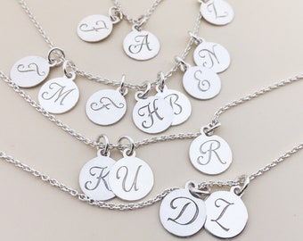 Add a initial charm personalized letter sterling silver initial monogram Letter Charm Monogram Gift Script Initial Personalized disc 10mm