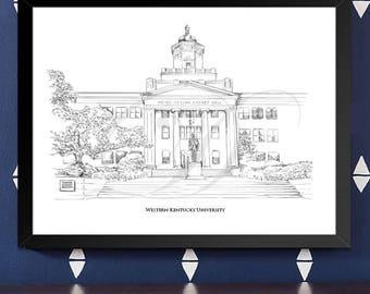 Western Kentucky University Fine Art Print, WKU, Hand Drawn, Watercolor Paper, Signed Art ( Sizes  5 x 7 -  16 x 20)