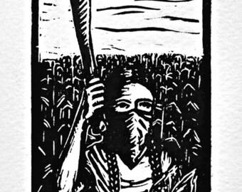 Autonomia, Zapatista woman with corn and machete