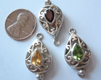 Peridot Green Sterling Silver Box Clasp Pear Shaped Qty. 1