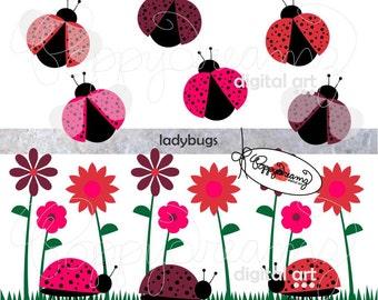 LadyBugs: Clip Art Pack (300 dpi transparent png) Ladybug Lady Bug Ladybird Flower Garden Clipart