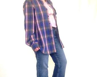 60s Shirt, Men's Plaid Shirt, Size Large, Plaid Button Down, Blue Plaid Shirt, Plaid Long Sleeve, Lightweight Button Down, Colorful Plaid