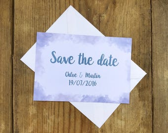 Soft watercolour wedding save the dates | Wedding save the date cards | Watercolour wedding save the dates | Up in the clouds |