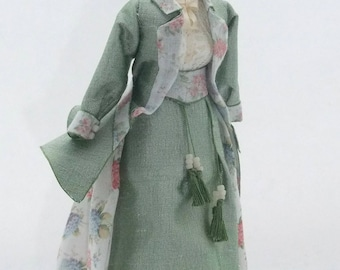 DOLLHOUSE MINIATURE Ladies Silk and Cotton Walking Out Suit