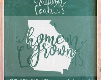 Georgia Home Grown Svg -- SVG, PNG, Jpeg, DXF cut file for Silhouette, Cricut -- Instant Download Clipart - State Clipart Cut File