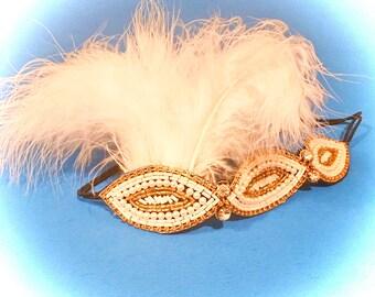 Hotsy-Totsy Vintage Inspired Feather Headband Gatsby Headpiece