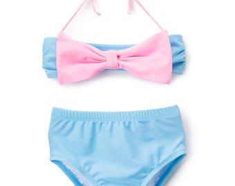 Girl's High Waist Animal Bow Bandeau Bikini
