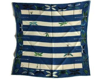 Tammis Keefe Handkerchief - Blue Damselflies -  Dragonfly Hankie - Tammis Keefe Damselflies Hankie - Tammis Keefe Hankie
