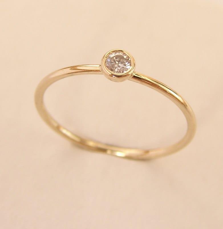 Gold Diamond Ring Round Diamond Ring Diamond Gold Ring
