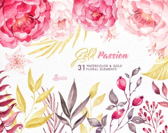Gold Passion: 31 Floral Elements, watercolor hand painted clipart, peonies, floral wedding invite, pink, greeting, diy art, flowers, glitter