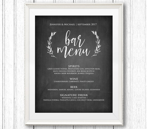 Bar Menu Sign, Printable Wedding Sign, Rustic Chalkboard Drink Menu Template, Instant Download, Editable Text, PDF Template, Digital #CH22