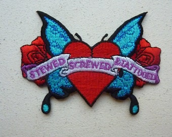 Stewed Screwed & Tattooed Iron On Embroidered Patch Tattoo Rock Butterfly Heart Roses Punk Girl Jacket Patches