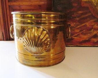 Vintage Brass Cache Pot or Planter, Doorknockers, Shell Motif, Palm Beach Decor, Brass Planter