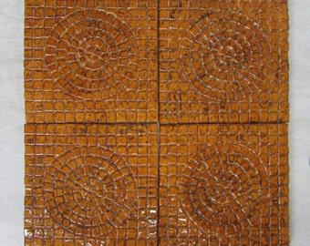 6x6 Ceramic Mosaic tile -- Set of 4 PsuedoMosaic Sun tiles, Wild Honey glaze, accent panel, backsplash, IN STOCK