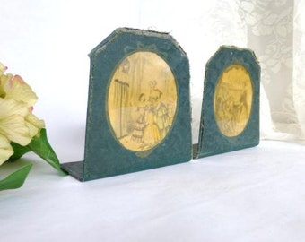 Antique French Bookends with French Ladies Print