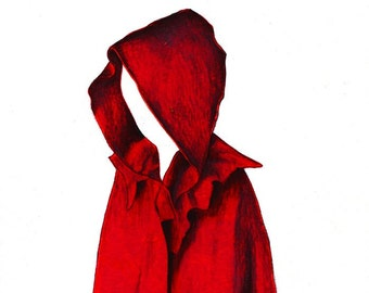"""Red Cape Print:   Digital print of an original drawing available 5x7"""" or 8x10"""""""