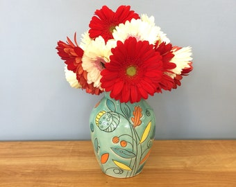 Handmade Flower Vase with Leaf Deco. Glazed in Aqua. MA129