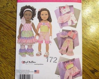 "DESIGNER Funky Doll Clothes by Pink Balloon / DIY Boho Patchwork Doll Clothing for 18"" Dolls - UNCUT ff Sewing Pattern Simplicity 1296"