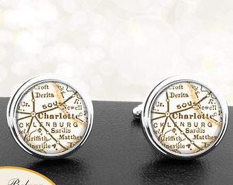 Cufflinks Charlotte North Carolina Handmade Cuff Links City State Maps NC Groomsmen Wedding Party Fathers Dads Men