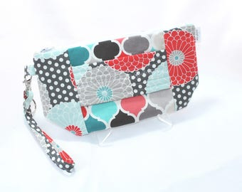Wristlet Wallet - iPhone Plus - Large Wristlet Clutch with hand strap and removable wrist strap - EDC Wristlet - EDC Wallet - Grey and Coral