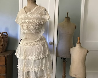1920s Tulle Lace Dress Blouse, Embroidery Lace Net, Flapper Period Era Clothing