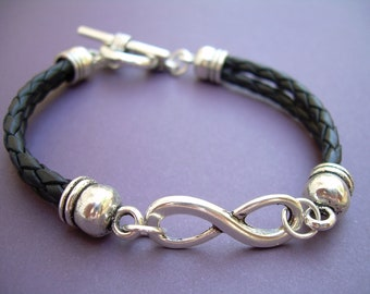Black Braided Leather Bracelet, Infinity Bracelet, Womens Bracelet, Mens Bracelet