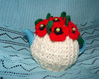 crochet tea cosy for 2 cup teapot,poppy flower,red,cream,pearls