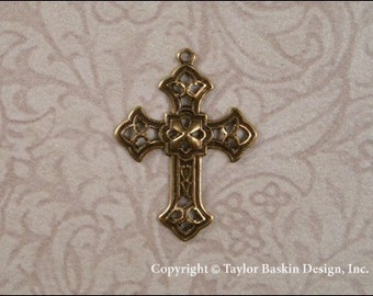 Victorian Filigree Cross in Antiqued Polished Brass (item 502 AG) - 6 Pieces